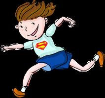 tekening van een jongen die loopt