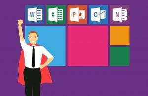 Een man met een cape wordt als superheld voorgesteld. Op de achtergrond zie je de verschillende logo's van software programma's van Microsoft Office.