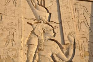 farao op een Egyptische tempel