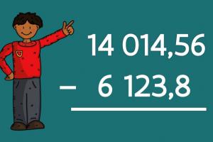 clipart van een jongen naast een oefening cijferend aftrekken met kommagetallen