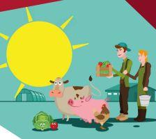 Tekening op werkbundel bezoek de boerderij met enkele boerderijdieren