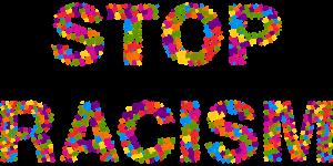 Afbeelding met de woorden 'stop racism'