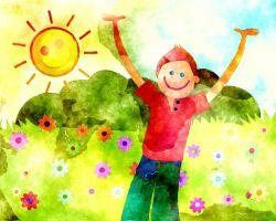 tekening van lachende jongen en zon en planten