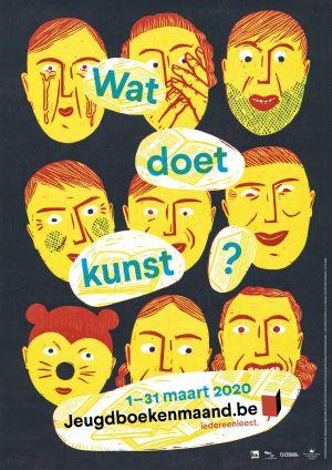affiche van iedereen leest: gele gezichten op zwarte achtergrond