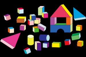 gekleurde blokken in de vorm van een kubus, balk en cilinder