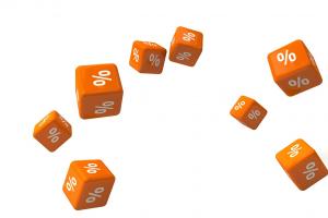 oranje kubussen met procenttekens op