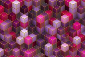 Kubussen in verschillende tinten paars