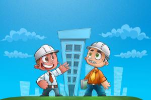tekening van twee arbeiders voor een flatgebouw