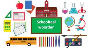 schoolspullen met een bord waarop schooltaalwoorden staat