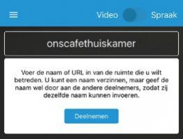 Schermafdruk uit Jitsi Meet app in Praatbox