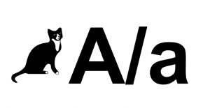 Een kat naast de hoofdletter A en de kleine letter a