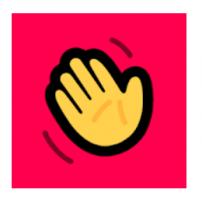Illustratie van zwaaiend hand - logo Houseparty