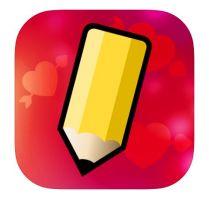 Het logo van de app. Een tekenpotlood op een roze achtergrond.