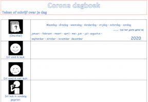Deel van het dagboek met pictogrammen en plaats om te schrijven