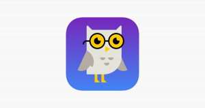 An owl on a purple background.