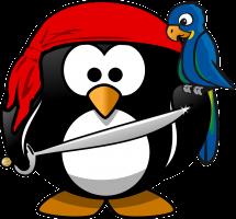 pinguïn vermomd als piraat