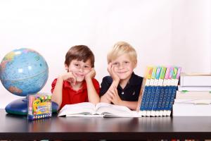Twee jongens kijken in een boek.
