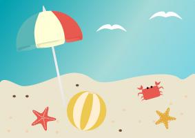 Strand met parasol, strandbal, zeesterren en een krab