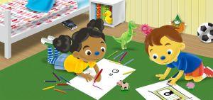 Loeloe en Pompom aan het tekenen