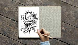 iemand tekent een bloem