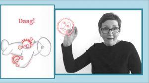 screenshot video : mevrouw die gebarentaal doet