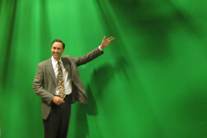 Weerman voor een green screen