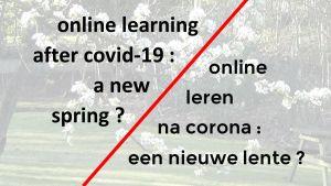 """titel """"online leren na corona: een nieuwe lente?"""" voor een achtergrond van fruitbloesems"""