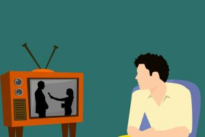 iemand die tv kijkt