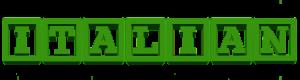 Het woord 'Italian' in groene hoofdletters
