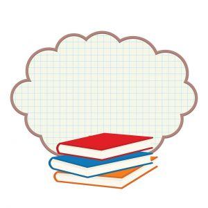 Stapel boeken met wolkje