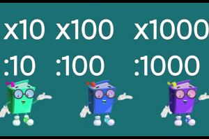 Delen door en vermenigvuldigen met 10, 100 en 1000
