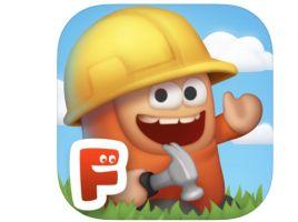 Logo van app Inventioneers, een gek mannetje met een gele helm op
