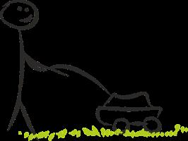 tekening van mannetje dat het gras maait