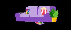 Een zetel waarbij 2 tablets liggen met Kahoot! meerkeuzeknoppen op het beeld.