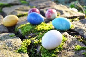gekleurde eieren op grond