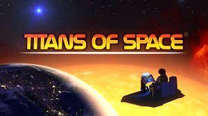 Logo van Titans of Space, een ruimteschip kijkt neer op de aarde.