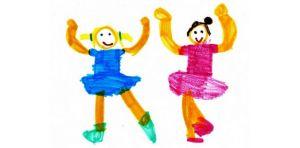 Tekening met dansende kinderen