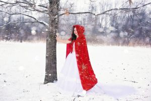 Little red riding hood in the snow