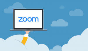 Laptop met zoom logo