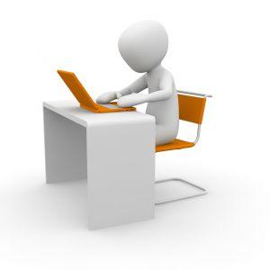 persoon, laptop, bureau