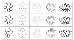 Matrix met verschillende vormen van bloemen