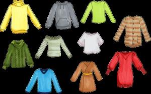 Kledingstukken in verschillende kleuren