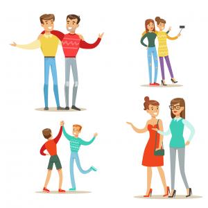 Tekeningen van mensen in sociale interactie
