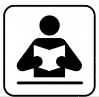 Pictogram van een lezend figuurtje