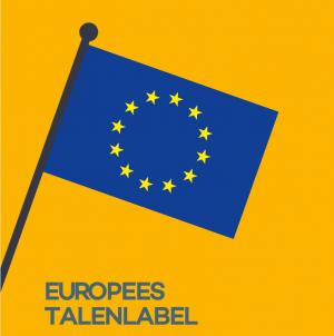 Europese vlag op een gele achtergrond