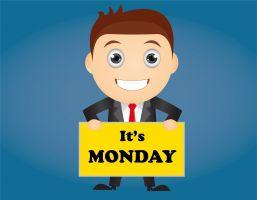 Mannelijk figuurtje met een bord waarop staat It's Monday