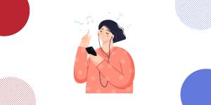 meisje luistert naar muziek