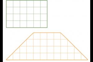 rechthoek en trapezium met ruitjes in