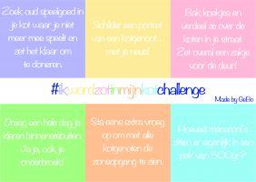 6 challenges genoteerd op een blad, elks in een vak met een andere klejur
