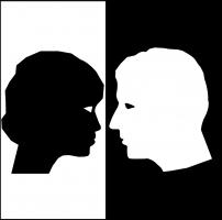 wit profiel van man, zwart profiel van vrouw